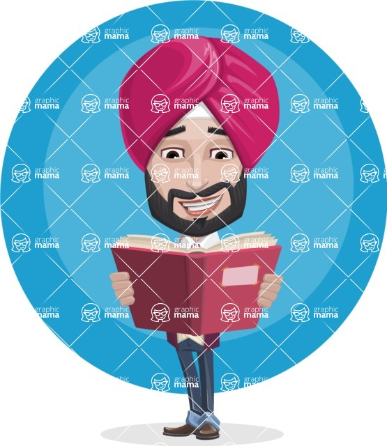 Vector Man With Turban Character.