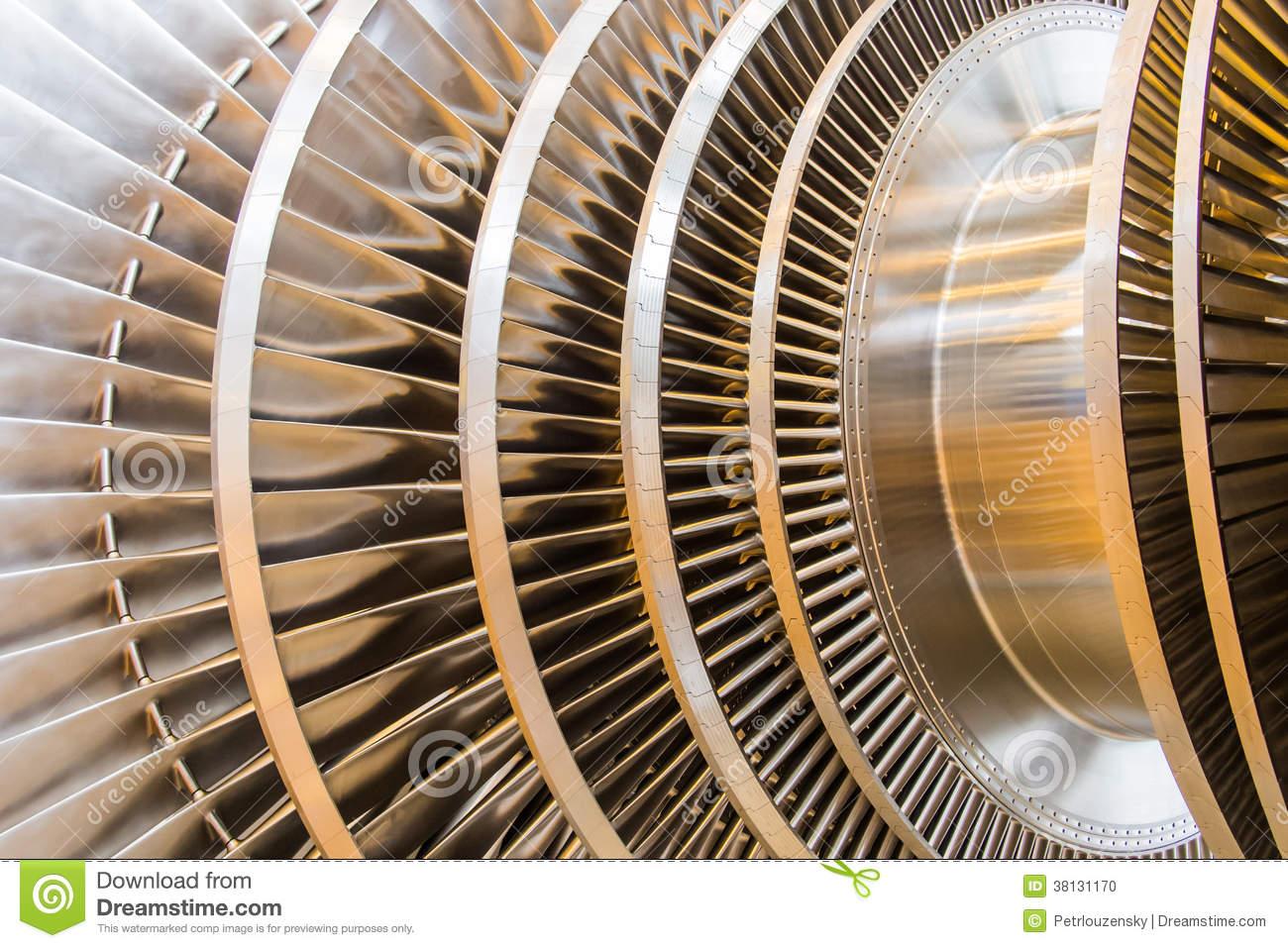 Steam Turbine Rotor Blades Stock Photo.