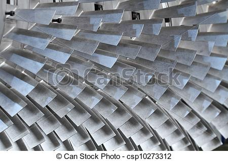 Stock Photography of turbine rotor blades.