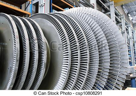 Stock Photographs of Rotor of a steam Turbine.