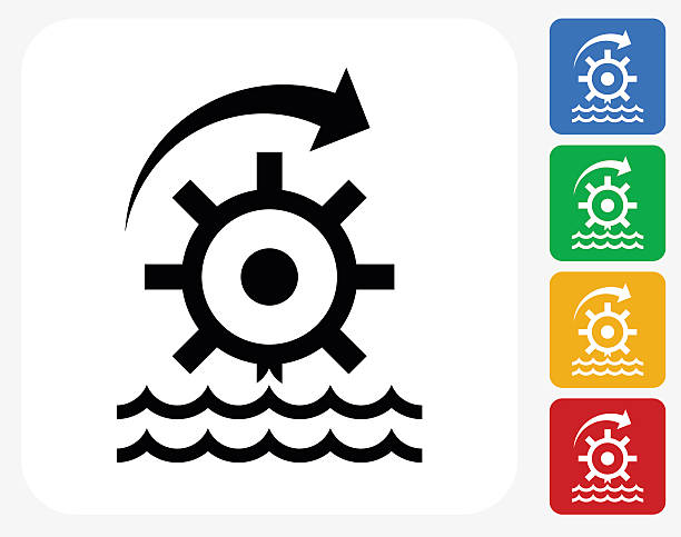 Water Turbine Wheel Icon Flat Graphic Design Clip Art, Vector.
