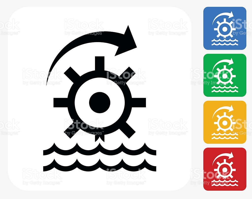 Water Turbine Wheel Icon Flat Graphic Design stock vector art.