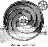 Vector Illustration of Turbine wheel, vintage engraving..