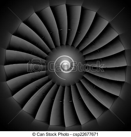Vectors Illustration of Jet engine turbine blades illustration.