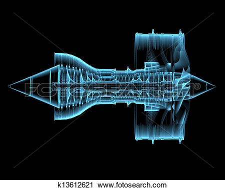 Clipart of Turbo jet engine (3D xray blue transparent) k13612621.