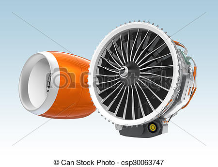 Drawing of Two Jet turbofan engines isolated on blue background.
