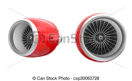 Clip Art of Two Jet turbofan engines in red.