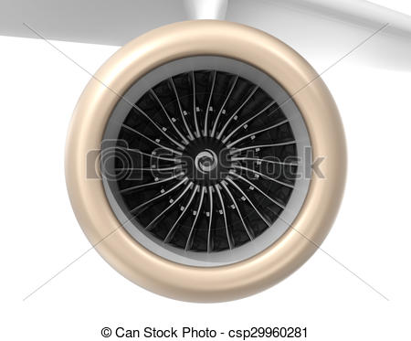 Stock Illustration of Front view of turbofan jet engine. 3D.
