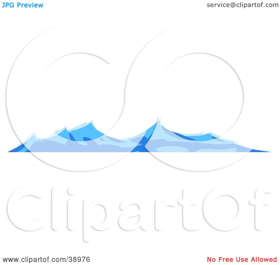 Clipart Illustration of Turbulent Blue Waves On The Surface Of The.