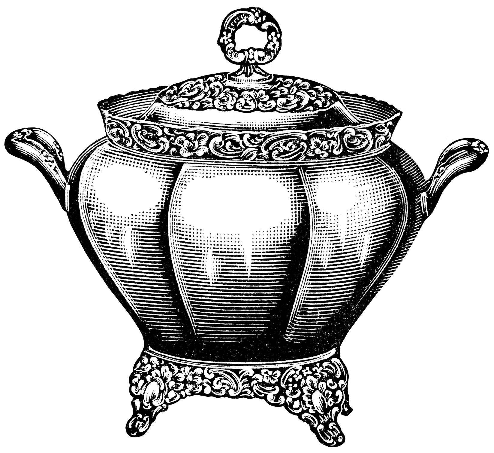 Black And White Graphics Free Vintage Kitchen Clip Art Soup Tureen.