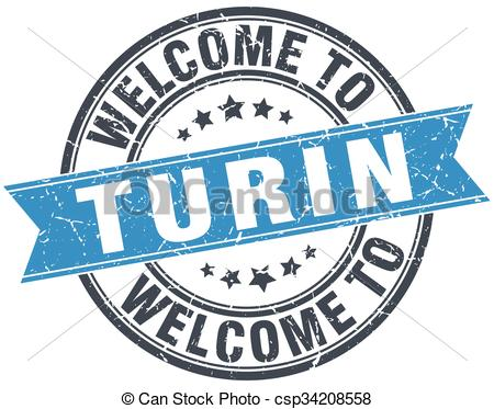 Clipart Vector of welcome to Turin blue round vintage stamp.