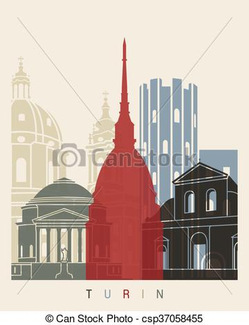 Clipart Vector of Turin skyline poster in editable vector file.