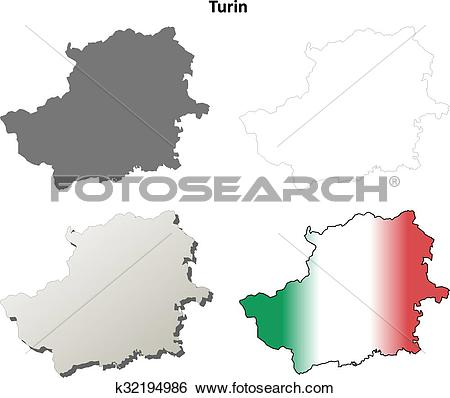 Clip Art of Turin blank detailed outline map set k32194986.
