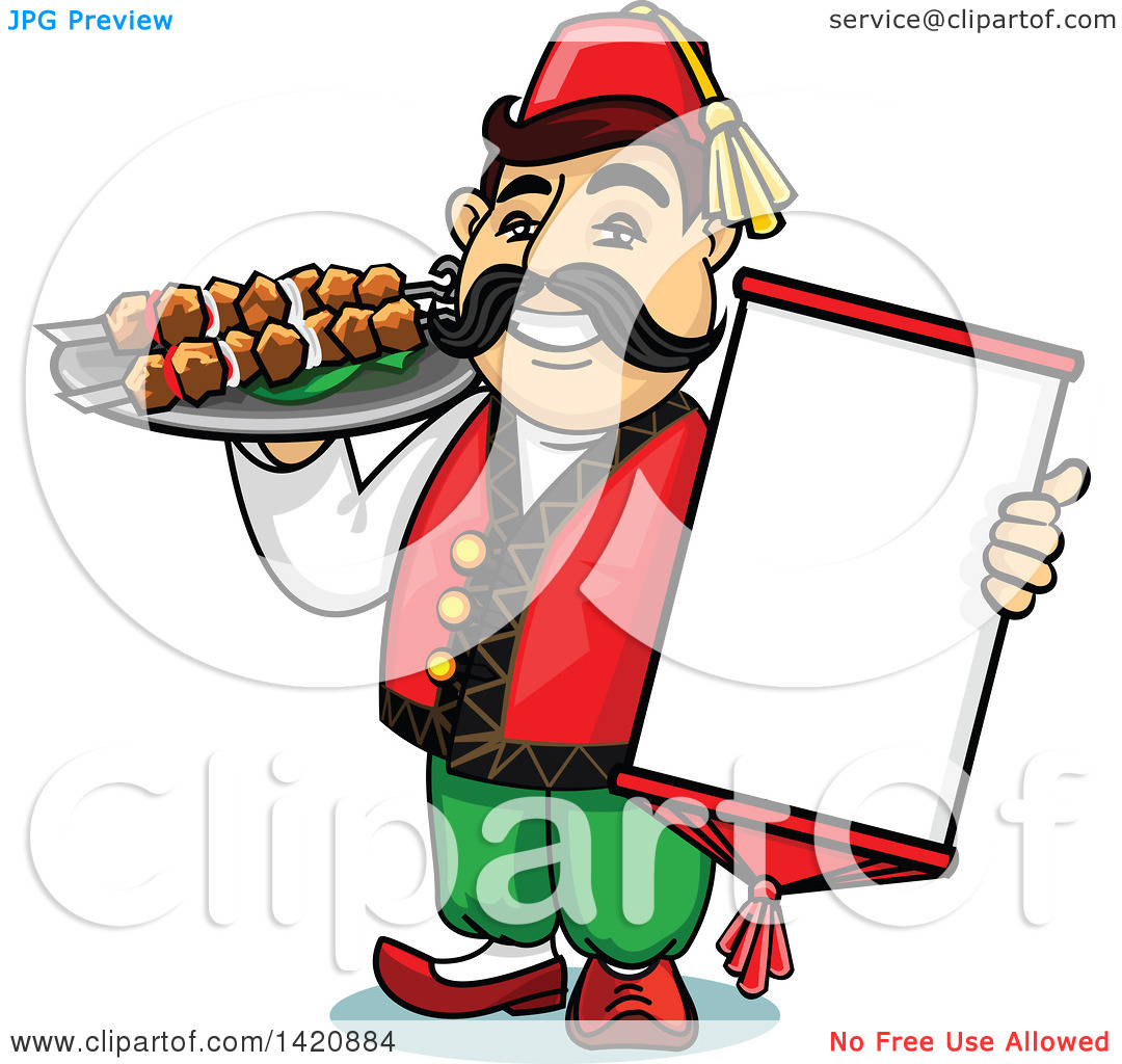 Clipart of a Cartoon Happy Male Turk Chef Holding a Menu and.