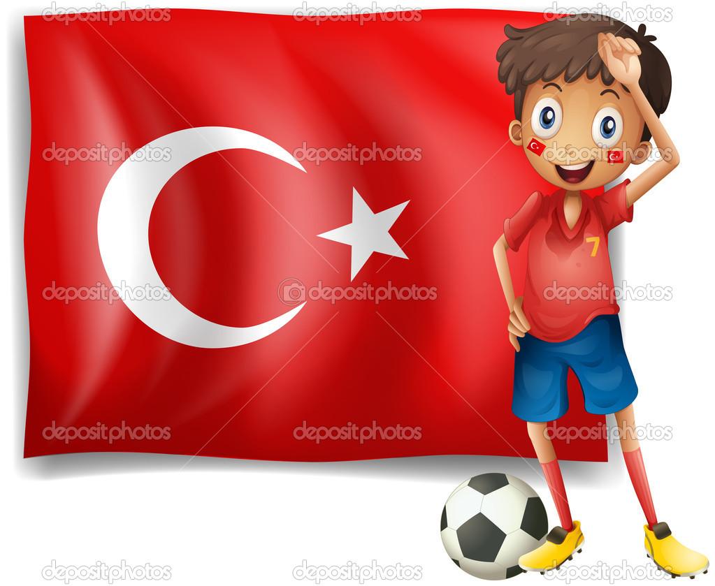 Bir futbolcu Türk bayrağı önünde — Stok Vektör © interactimages.