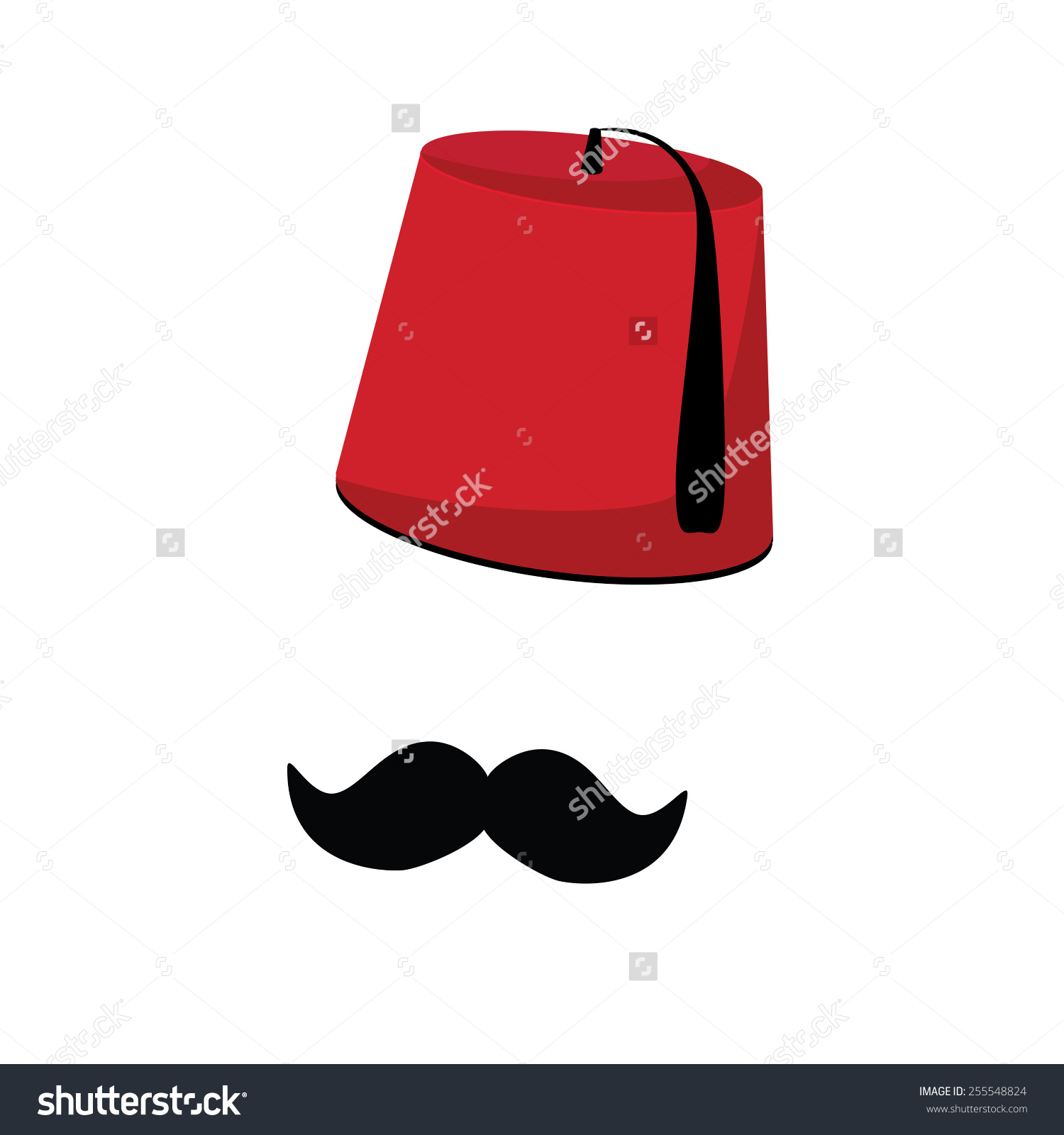 Red Turkish Hat Fez Black Mustache Stock Vector 255548824.