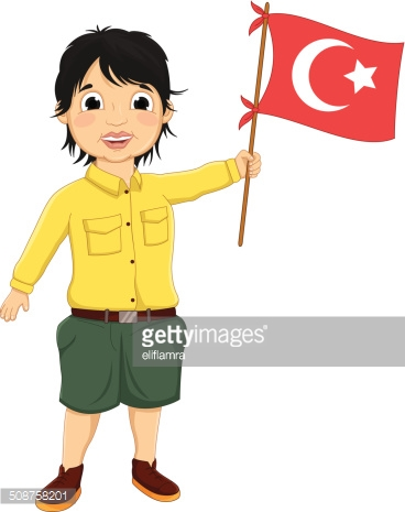Boy With Turkish Flag Vector Illustration stock vectors.
