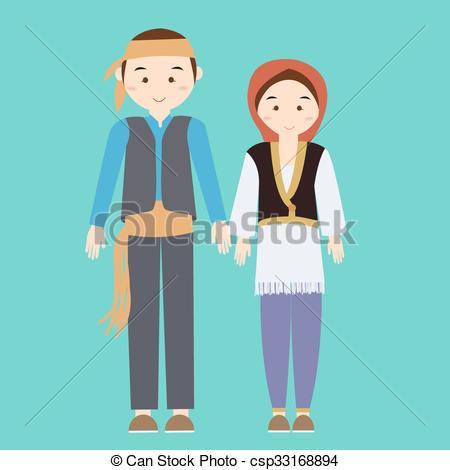EPS Vectors of couple man woman turkish wearing turk turkey.