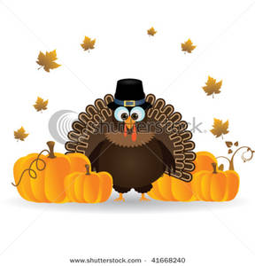 Thanksgiving Turkey with Pumpkins Clipart Picture.