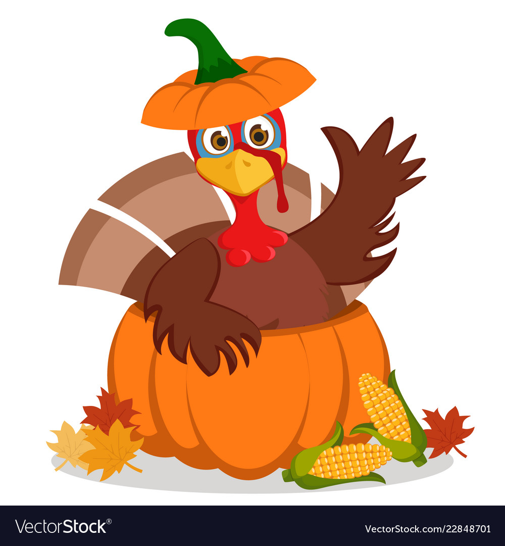 Turkey sitting in a pumpkin and waving his wing on.