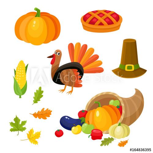 Set of colorful thanksgiving symbols.