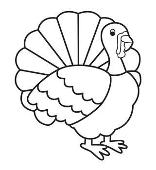 Simple Turkey line clip art black and white.