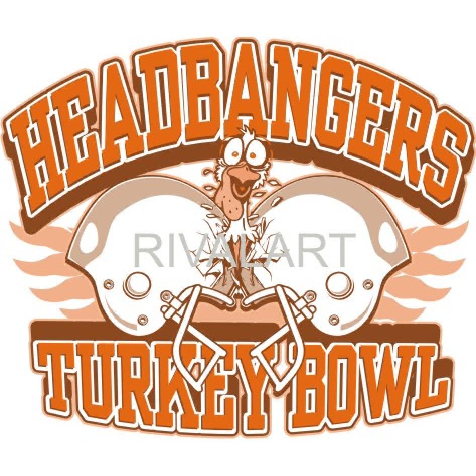 Headbangers Turkey Bowl Football Game Thanksgiving Graphic.