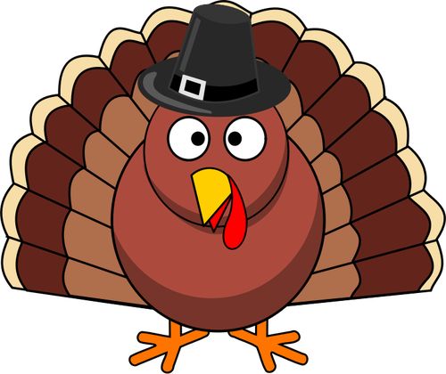 Vector clip art of funny turkey with black hat.