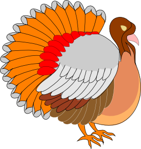 Orange Turkey Clip Art Vector.