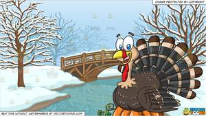 A Turkey On Top Of A Pumpkin and A Bridge Over A Frozen Stream Background.