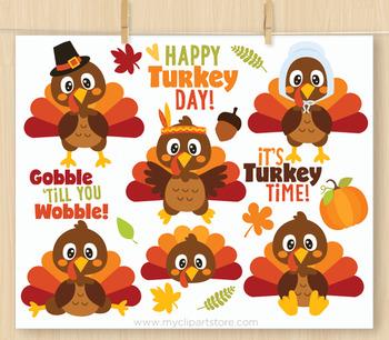 Thanksgiving Turkeys Clipart, Turkey Day, Fall, Autumn, Animals.