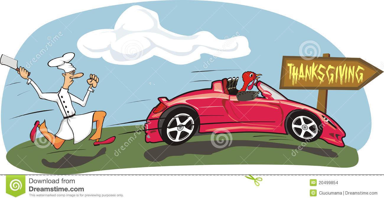 Turkey Driving A Car Clipart.