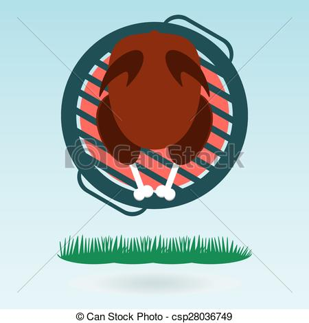 EPS Vector of Grill Roasted Chicken Turkey cock. Grass concept.
