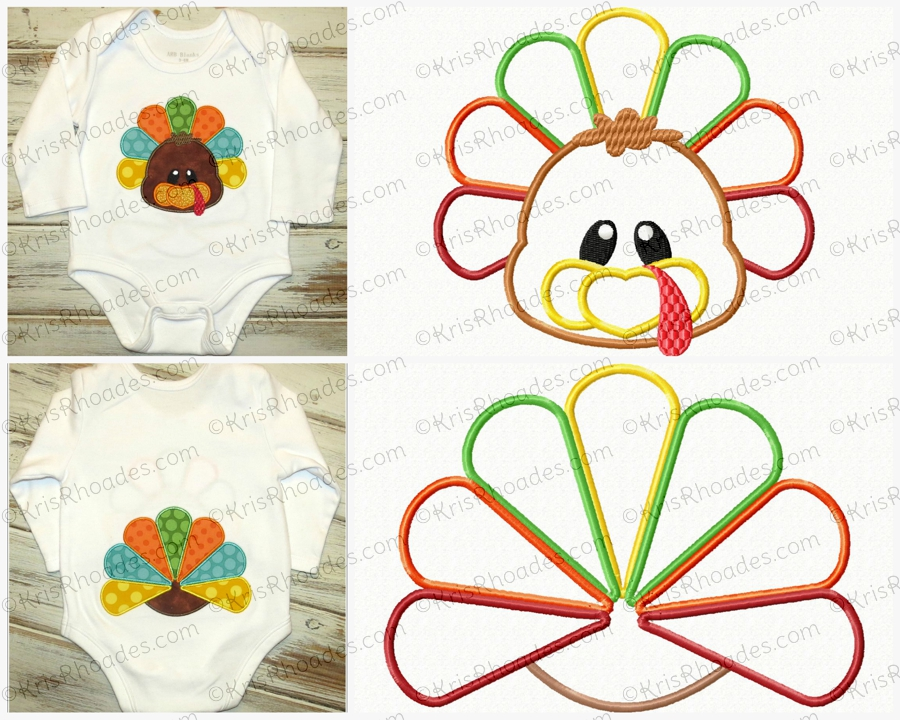 Turkey Face and Butt Applique Embroidery Design.