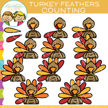 Counting Feathers on a Turkey Clip Art.