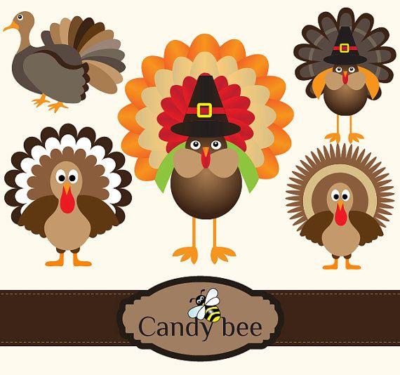 Turkey Clipart, Cute Turkeys Clipart, Thanksgiving Clipart.