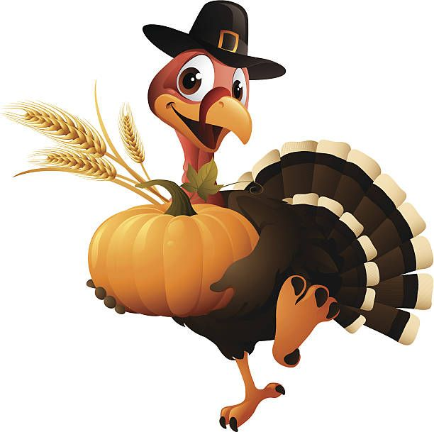 Cartoon graphics of pilgrim turkey holding pumpkin and wheat.