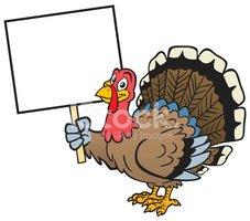 Turkey Holding Sign Stock Vector.