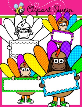 Thanksgiving Clipart: Turkey Kids holding Signs.