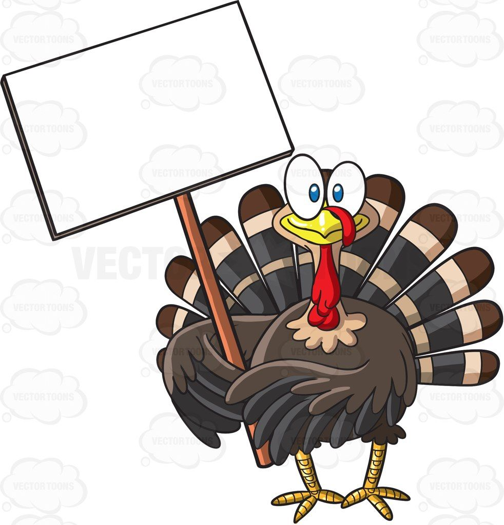 A turkey holding a blank signboard #cartoon #clipart #vector.