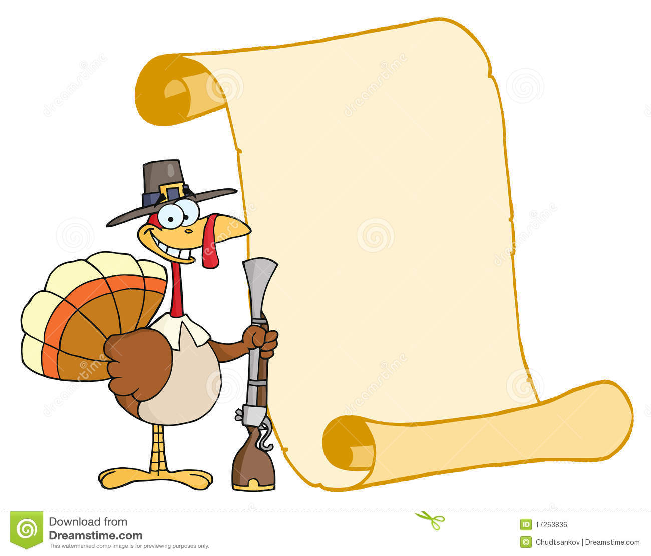 Turkey With Sign Clipart.