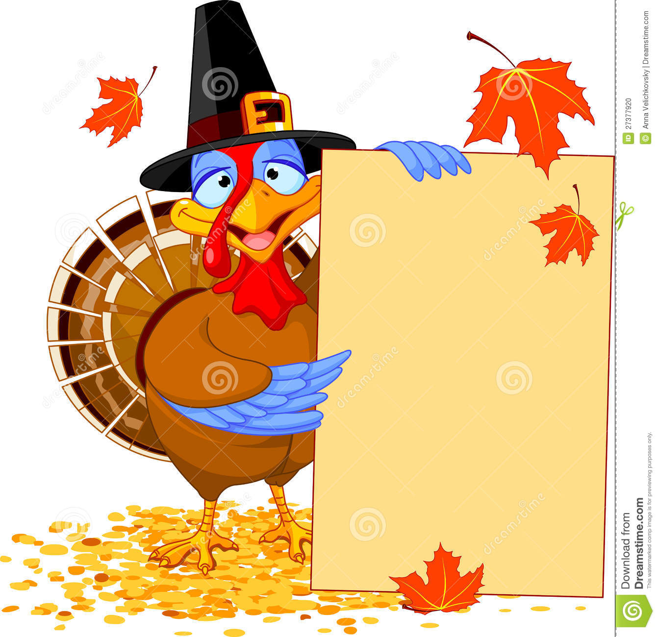 Turkey Holding Sign Clipart Free.