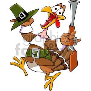 Thanksgiving turkey dressed as a pilgrim running scared cartoon clipart.  Royalty.