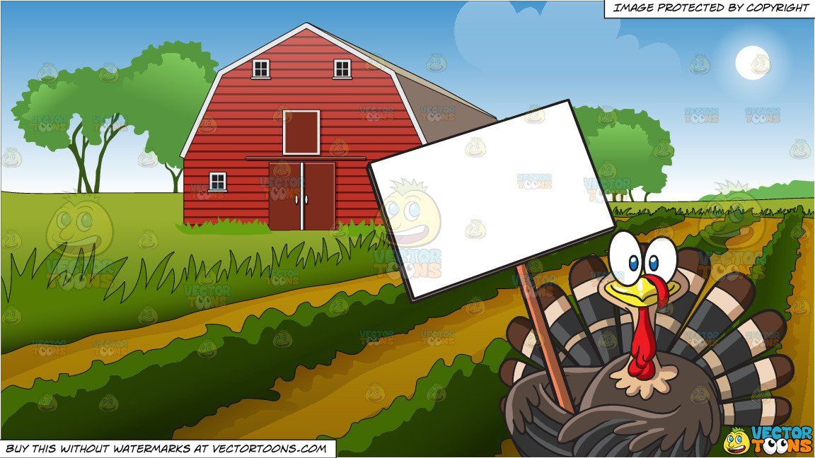A Turkey Holding A Blank Signboard and Farm Field And Barn Background.
