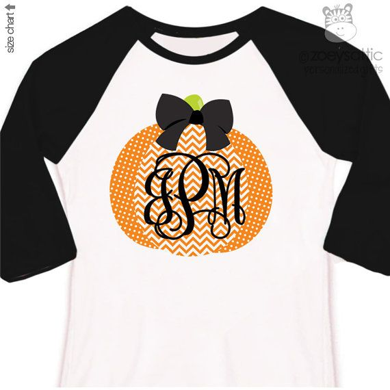 girls Fall shirt monogram pumpkin chevron personalized.