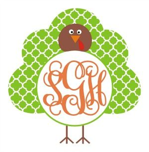 Quatrefoil Turkey Monogram Frame SVG.