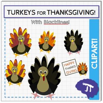 Turkey Thanksgiving Clipart Bundle.