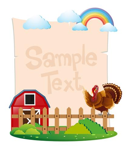 Paper template with turkey in the farm.