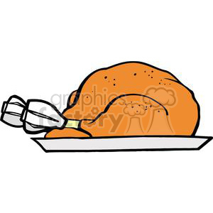 Turkey on a Plate clipart. Royalty.
