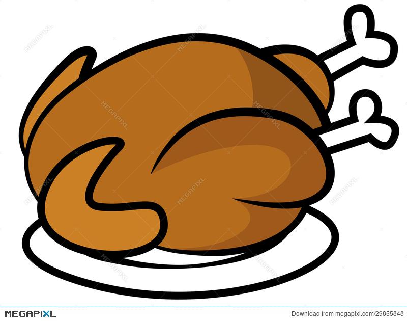 Chicken Or Turkey On Plate Illustration 29855848.